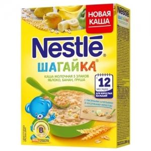 """Каша Nestle """"ШАГАЙка"""" Молочная 5 Злаков с Яблоко, Банан, Груша  200 г. с 12 месяцев"""