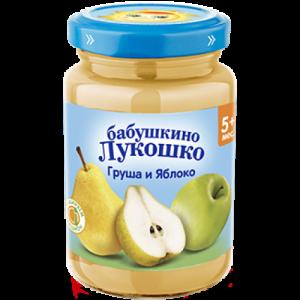 """""""Бабушкино лукошко"""" пюре Груша, Яблоко без сахара с 4 месяцев 190г."""