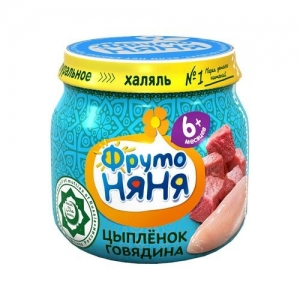 "пюре ""ФрутоНяНя"" 80 г. Мясо Цыплёнка с Говядиной с 6 месяцев Халяль"