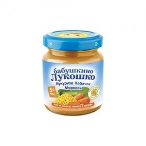 """пюре """"Бабушкино лукошко"""" 100 г. Кукуруза-Кабачок-Морковь с 5 месяцев"""