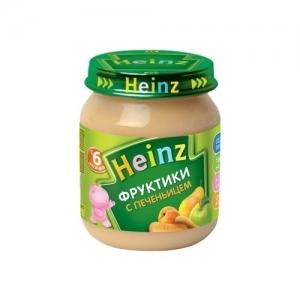"""""""Heinz"""" пюре Фруктики с Печеньицем с пребиотиками с 6 месяцев 120 г."""