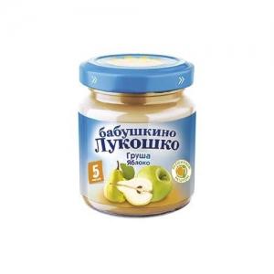 """""""Бабушкино лукошко"""" Пюре 100 г. Груша Яблоко без сахара с 3,5 месяцев"""