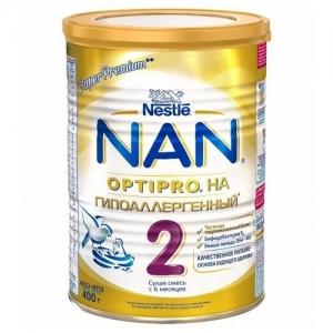 """""""Nestle NAN Гипоаллергенный 2"""" сухая смесь с 6 месяцев 400 г."""