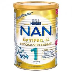 """""""Nestle NAN Гипоаллергенный 1"""" сухая смесь с рождения 400 г."""