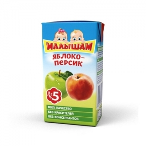 """""""МАЛЫШАМ"""" 125 мл. нектар Яблоко-Персик с 5 месяцев"""