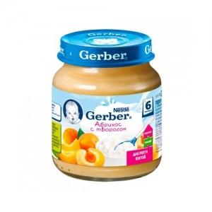 """""""Gerber"""" пюре Абрикос с Творогом с 6 месяцев 125 г."""