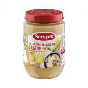 """""""Semper"""" 190 г. пюре Картофельно-Овощное рагу с Цыплёнком с 12 месяцев"""
