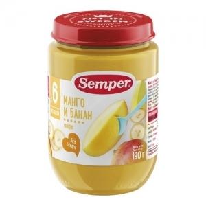"""""""Semper"""" 190 г. пюре Манго и Банан с 6 месяцев"""