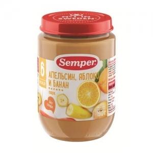 """""""Semper"""" 190 г. пюре Апельсин, Яблоко, Банан с 6 месяцев"""