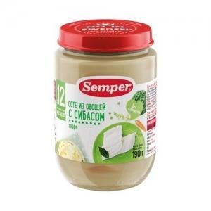 """""""Semper"""" 190 г. пюре Соте из овощей с Сибасом с 12 месяцев"""