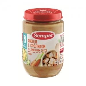 """""""Semper"""" 190 г. пюре Овощи с Кроликом в Сливочном соусе с 8 месяцев"""