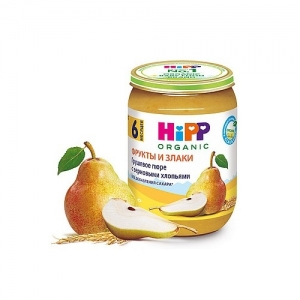 """""""HiPP"""" Грушевое пюре с Зерновыми хлопьями без добавления сахара с 4 месяцев 190 г."""