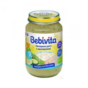 """""""Bebivita"""" пюре Овощное рагу с Цыплёнком с 9 месяцев 190 г."""