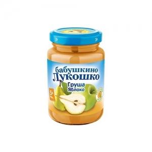 """""""Бабушкино лукошко"""" пюре Груша, Яблоко без сахара с 4 месяцев 200г."""
