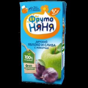 """""""ФрутоНяНя"""" 200 мл. нектар Яблоко-Слива с мякотью с 5 месяцев"""