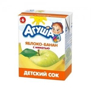 """""""Агуша"""" 200 мл. сок Яблоко-Банан с мякотью с 6 месяцев"""