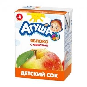"""""""Агуша"""" 200 мл. сок Яблоко с мякотью с 4 месяцев"""