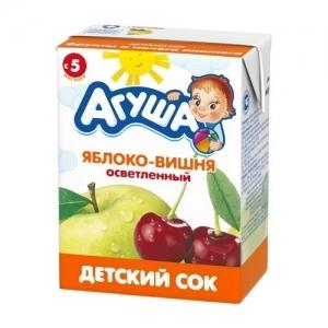 """""""Агуша"""" 200 мл. сок Яблоко-Вишня осветлённый с 6 месяцев"""