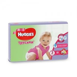 Tрусики-подгузники HUGGIES для девочек Mega-Pack №3 (7-11 кг) 58 шт.