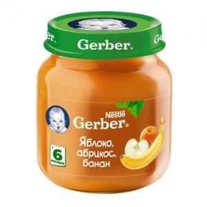 """Gerber"" пюре Яблоко, Абрикос, Банан с 6 месяцев 130 г."