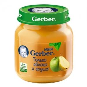 """""""Gerber"""" пюре Яблоко и Груша с 5 месяцев 130 г."""