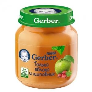 """""""Gerber"""" пюре Яблоко с Шиповником с 5 месяцев 130 г."""