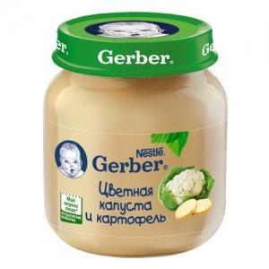 """""""Gerber"""" пюре Цветная капуста и Картофель с 5 месяцев 130 г."""