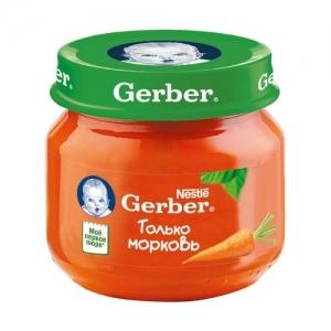 """""""Gerber"""" пюре Морковь с 4 месяцев 80 г."""