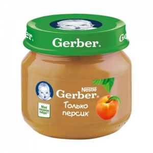 """Gerber"" пюре Персик с 4 месяцев 80 г."