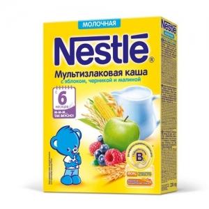 Nestle Каша Молочная Мультизлаковая с Яблоком, Черникой с бифидобактериями 220 г. с 6 месяцев