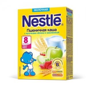 Nestle каша Молочная Пшеничная с кусочками яблока и земляники 220 г. с 8 месяцев