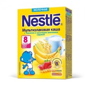Nestle Каша Молочная Мультизлаковая с Бананом и Кусочками Земляники 220 г. с 8 месяцев