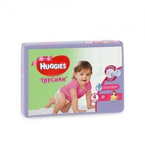 Трусики-подгузники HUGGIES для девочек Conv-Pack №4 (9-14 кг) 34 шт.