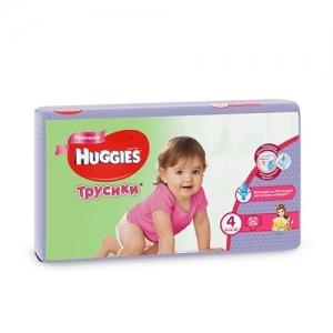 Трусики-подгузники HUGGIES для девочек Mega-Pack №4 (9-14 кг) 52 шт.