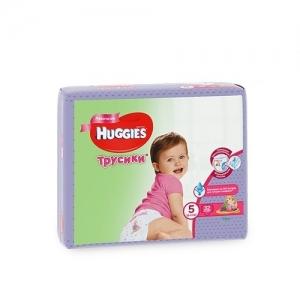 Трусики-подгузники HUGGIES для девочек Jumbo-Pack №5 (13-17 кг) 32 шт.