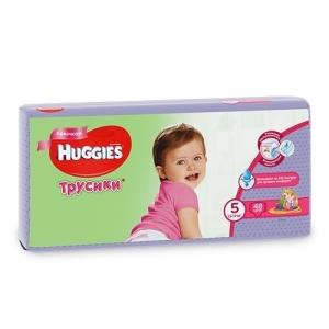 Трусики-подгузники HUGGIES для девочек Mega-Pack №5 (13-17 кг) 48 шт.