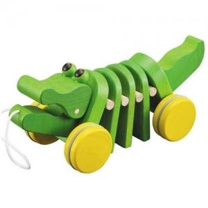 PLAN TOYS Деревянная игрушка Каталка-Танцующий Крокодильчик 5105