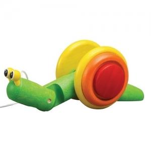 PLAN TOYS Деревянная игрушка Каталка-Улитка 5108