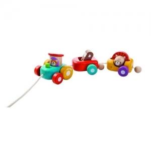 PLAN TOYS Деревянная игрушка Каталка-Паровозик Весёлый двигатель 5131