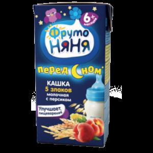 """""""ФрутоНяНя"""" кашка жидкая 5 злаков молочная с персиком с 6 месяцев 200 мл."""
