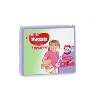 Трусики-подгузники HUGGIES для девочек Jumbo-Pack №6 (16-22 кг) 30 шт.
