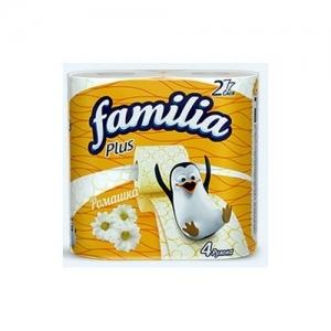 Туалетная бумага белая Familia Plus Ромашка двухслойная, 4 шт
