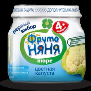 """""""ФрутоНяНя"""" 80 г. пюре из Цветной капусты с 4,5 месяцев"""