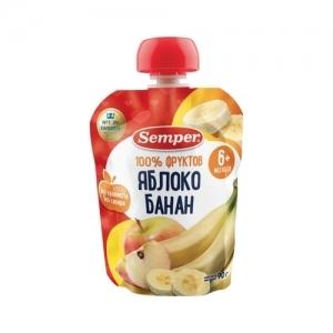 """""""Semper"""" 90 г. пюре Яблоко и Банан с 6 месяцев ПАУЧ"""