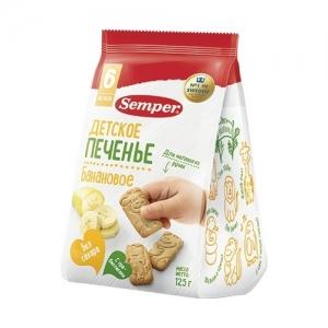 """""""Semper""""  печенье 125 г. Банановое с 6 месяцев"""