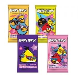 Салфетки детские влажные Angry Birds school очищающие 10 шт.