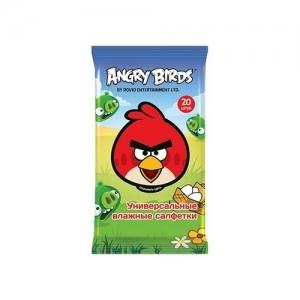 Салфетки детские влажные Angry Birds для мальчиков и девочек ассортимент 20 шт.