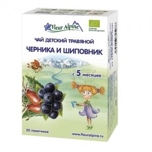 """""""Fleur Alpine"""" ORGANIC чай Черника и Шиповник с 5 месяцев"""