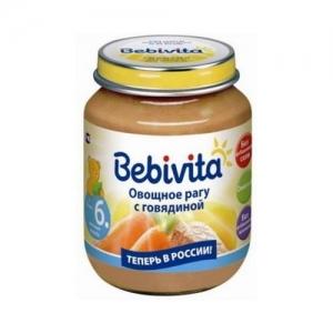 """""""Bebivita"""" пюре Овощное рагу с Говядиной с 6 месяцев 100 г."""