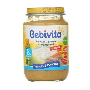 """""""Bebivita"""" пюре Овощи с Рисом и Говядиной  с 8 месяцев 190 г."""